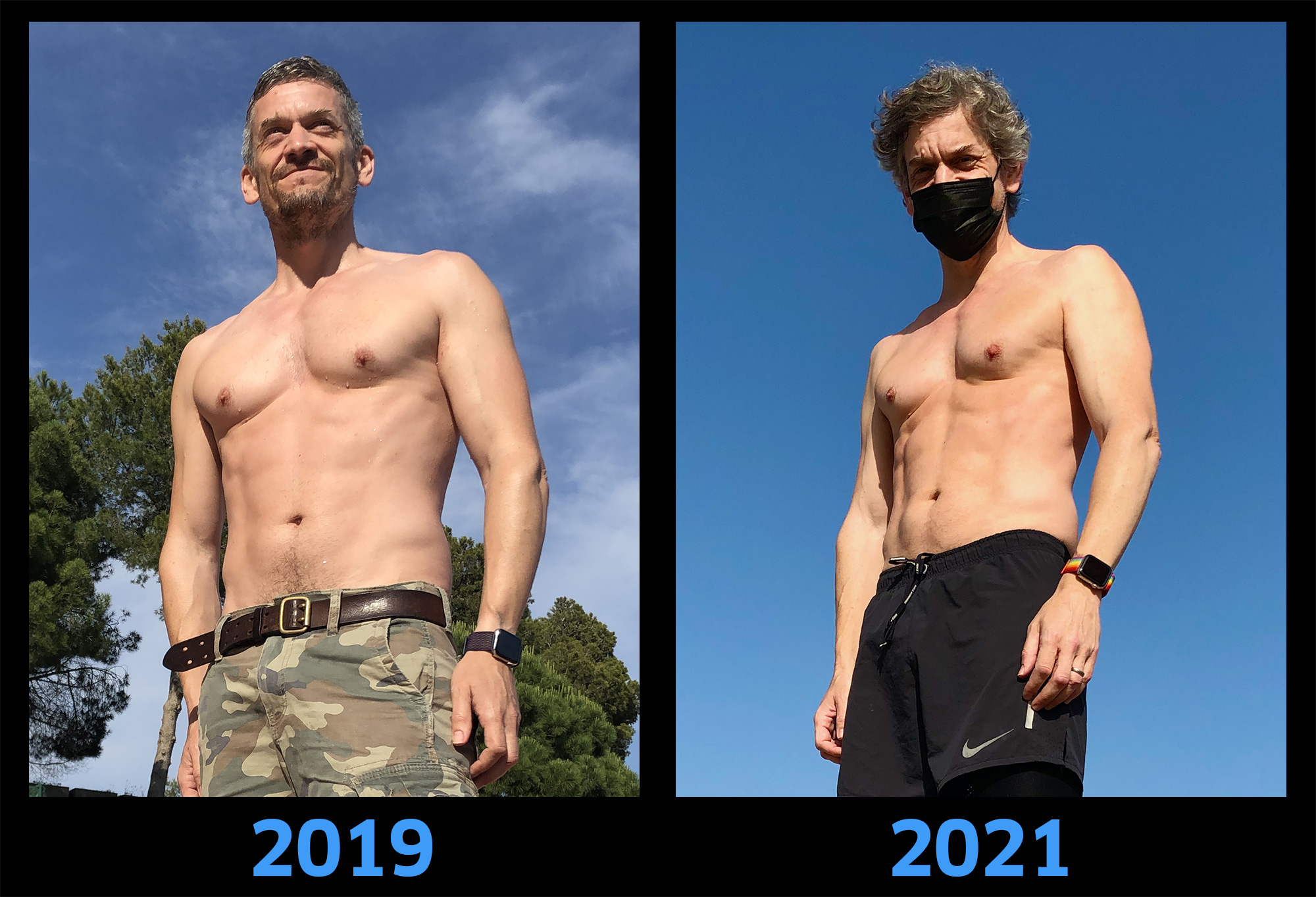 Before and after: 12 months of no gym